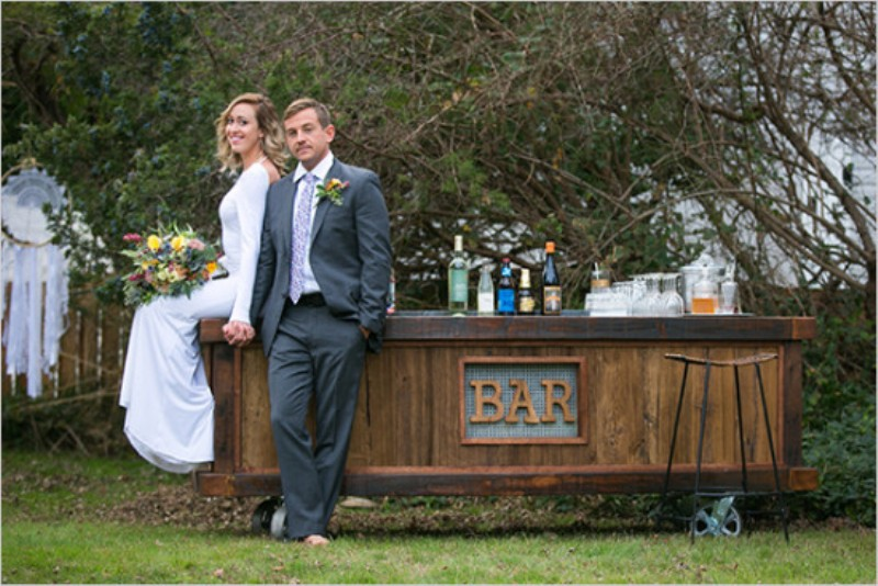 Picture Of vintage meets rustic backyard wedding inspiration  8