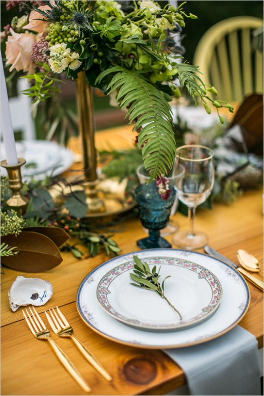 Picture Of vintage meets rustic backyard wedding inspiration  9