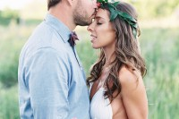 a simple groom's outfit with neutral pants, a blue shirt and a burgundy bow tie will fit a summer wedding