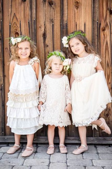 boho lace midi flower girl dresses with various designs will show off every girl's individuality