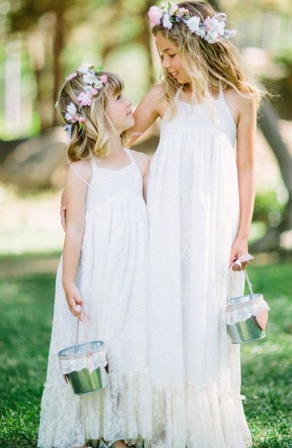 boho lace maxi dresses with a high neckline and thin straps is great for summer
