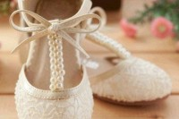 white lace T-strap shoes with bows and pearls are chic, girlish and very cute