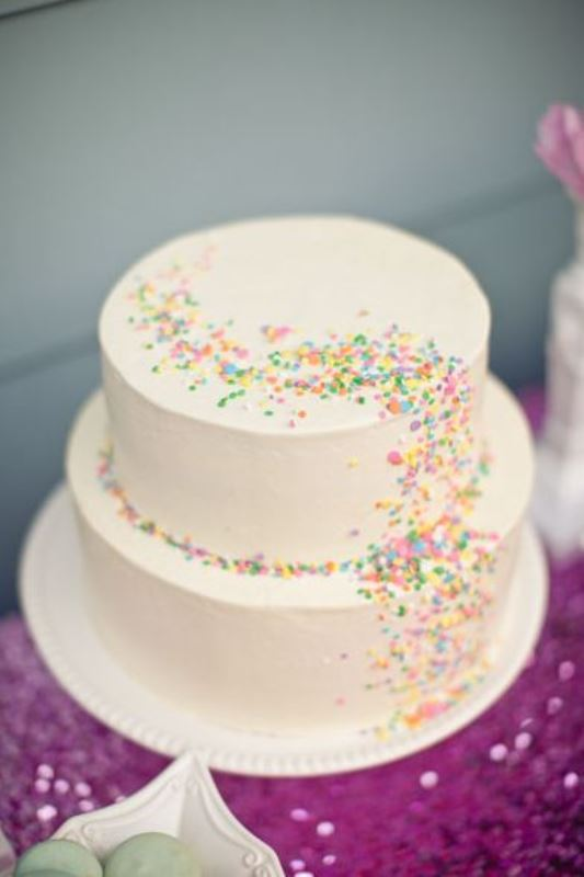Picture Of fun and colorful sprinkle wedding cakes  10
