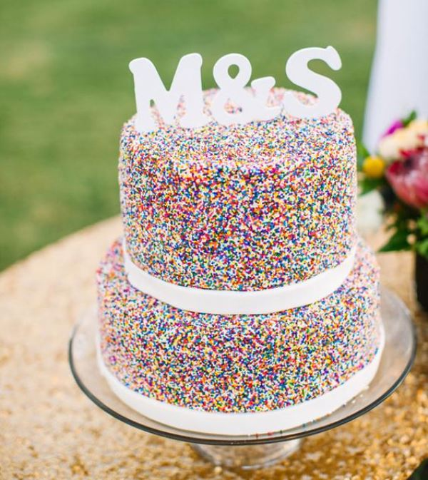 Bright Colorful Wedding Inspiration: 23 Fun And Colorful Sprinkle Wedding Cakes