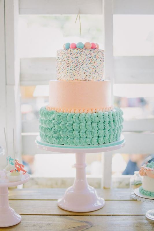 Picture Of fun and colorful sprinkle wedding cakes  23