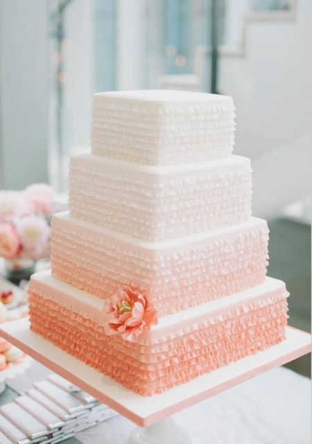 an ombre coral square wedding cake with multiple ruffles is a bright idea for a spring or summer wedding
