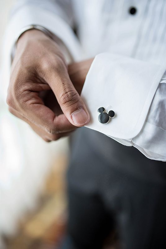 Mickey Mouse cufflinks for a Disneyland groom   a small accessory with a big impact
