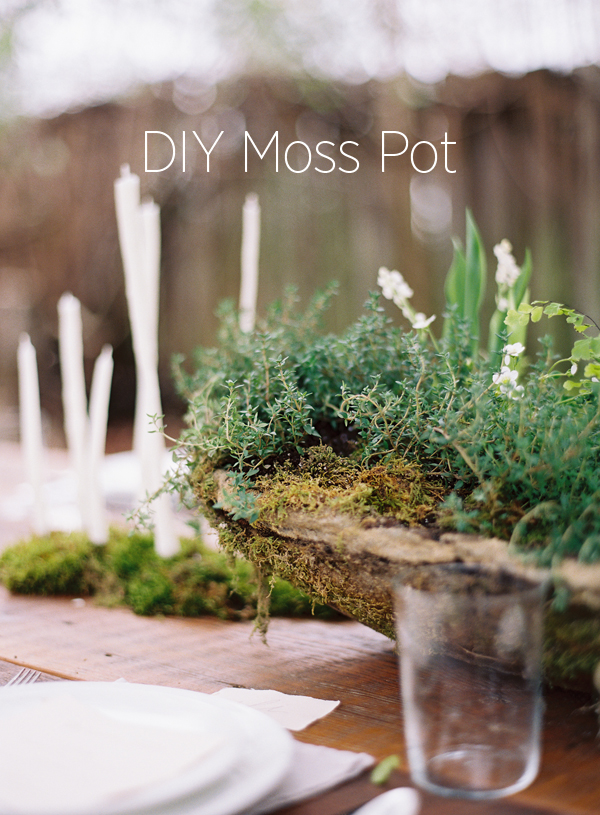 Natural DIY Wedding Centerpiece Moss Pots