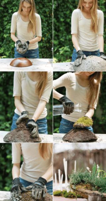 Natural DIY Wedding Centerpiece Moss Pots