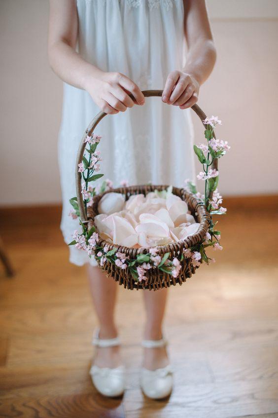 Rustic Burlap Wedding Flower Girl Basket Ivory Roses Decorated