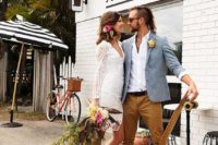 a grey jacket, a white shirt, mustard pants and a bold and edgy haircut for an ultimate informal groom's look