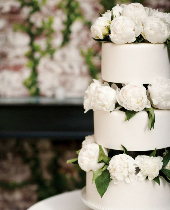 a stylish white wedding cake with white flowers and leaves between the tiers is extra bold and cool