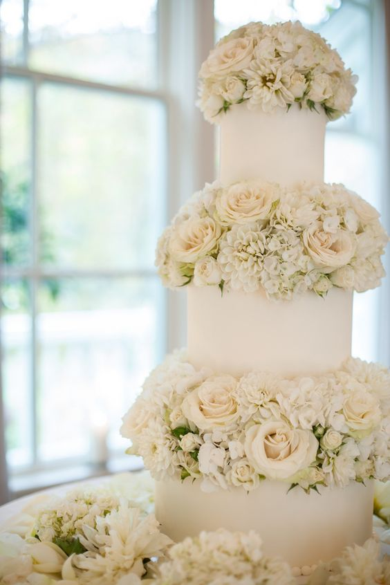 a white wedding cake with white blooms between the tiers is very chic and very elegant