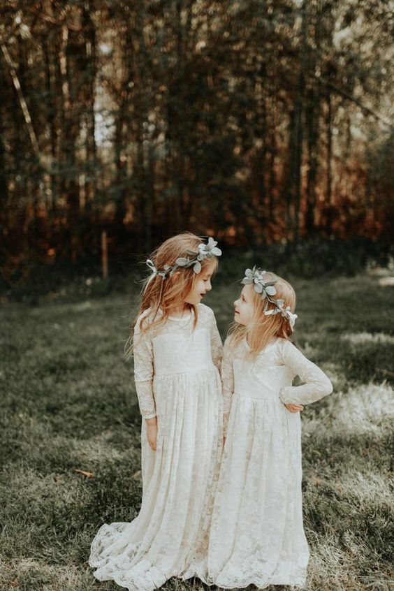 boho lace maxi flower girl dresses with long sleeves, illusion necklines and a train are a timelessly elegant idea