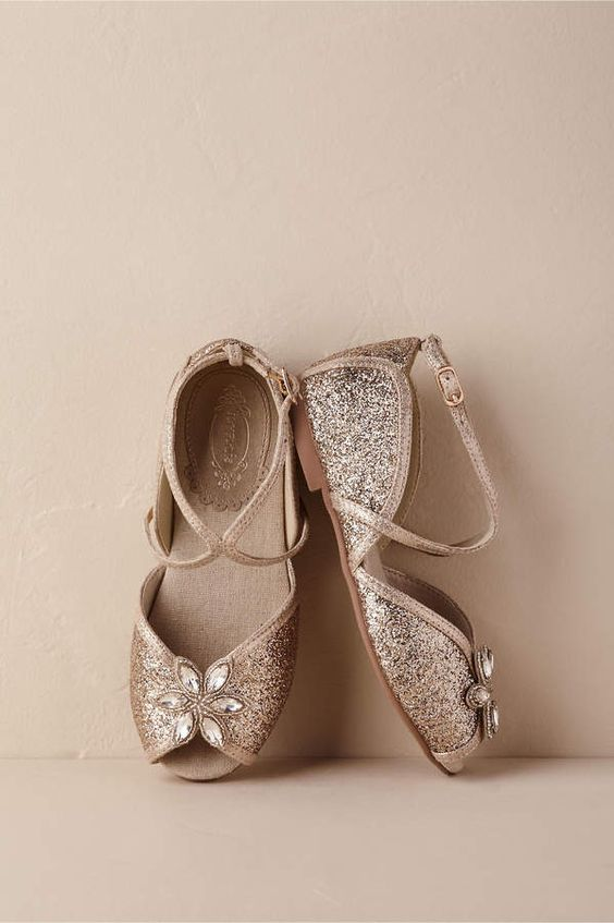copper glitter flat shoes with cutouts and peep toes plus rhinestones are a cool and glam idea