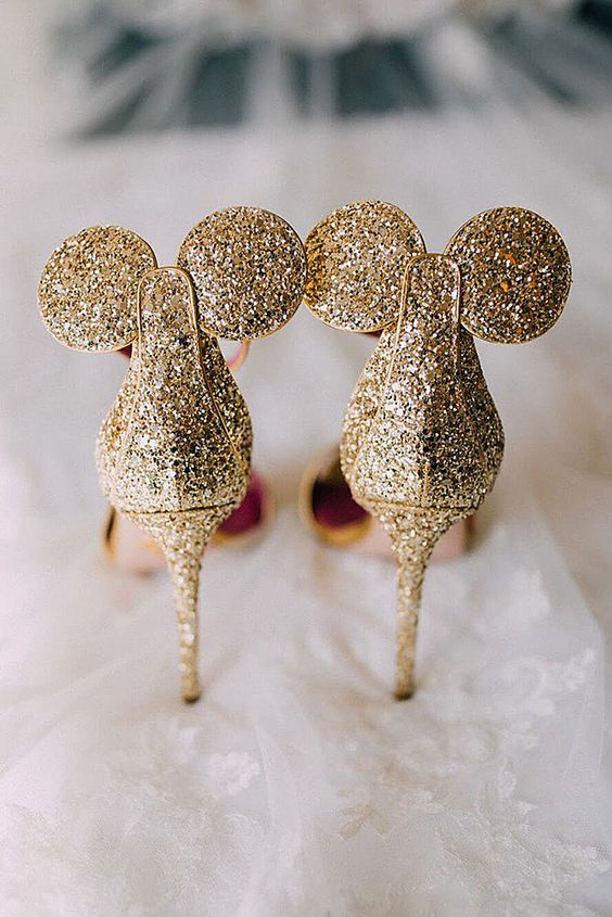 gold glitter Mickey Mouse ears wedding shoes is a very whimsy and fun idea for a Disney bride