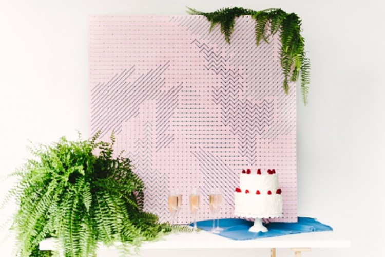 Modern Geometric DIY Pegboard Wedding Backdrop