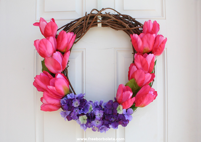 DIY Flower Wreath For Spring And Summer (via freeborboleta)