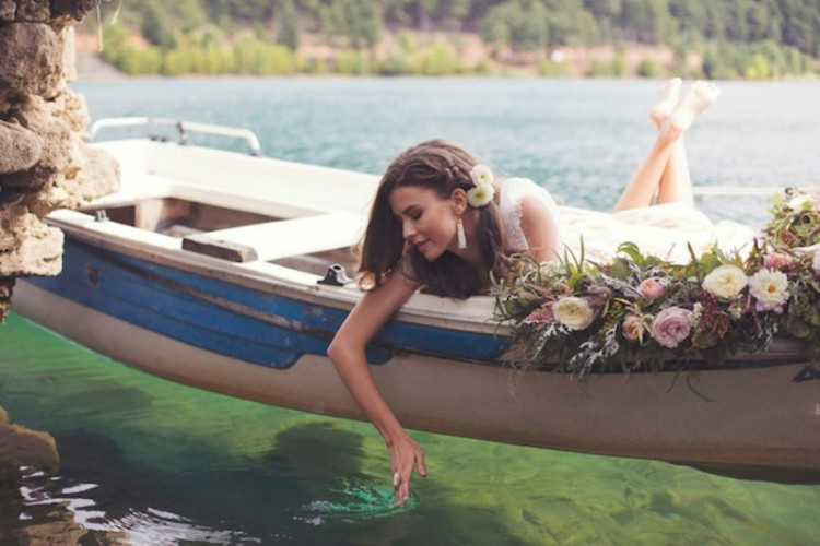 Romantic Wedding Elopement Inspiration On Lake Doxa, Greece