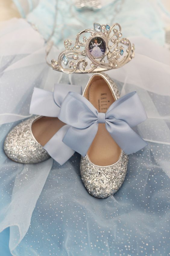 silver flats with large blue silk bows will make your flower girl a real princess