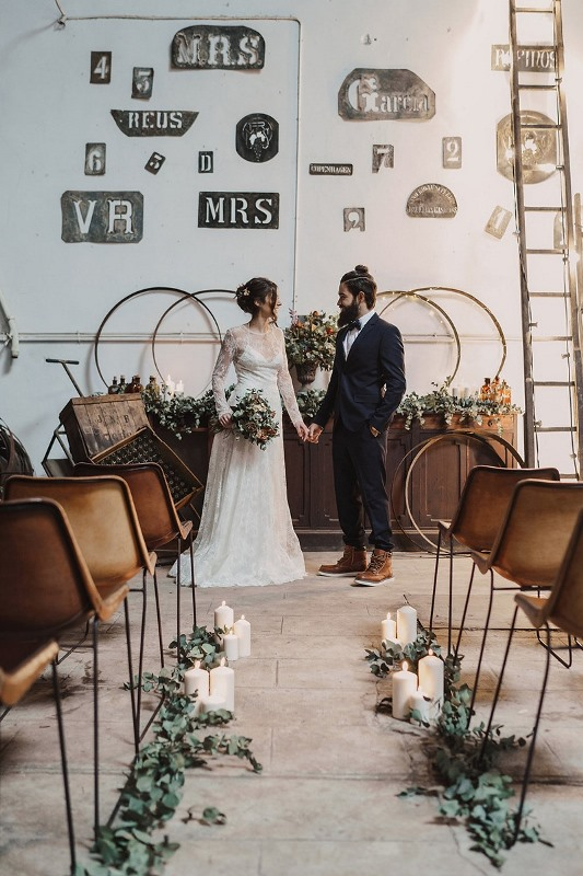Picture Of stylish industrial and rustic inspired wedding ideas  1