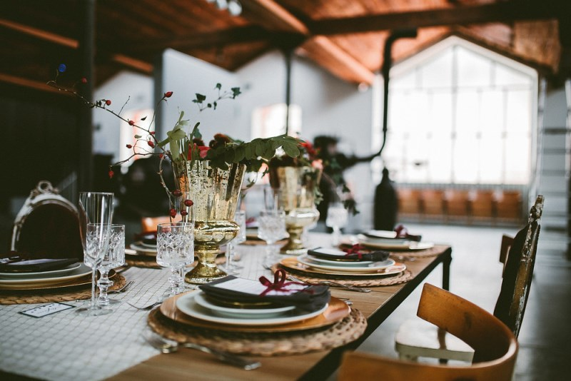 Picture Of unique industrial and vintage inspired fall italian wedding  1