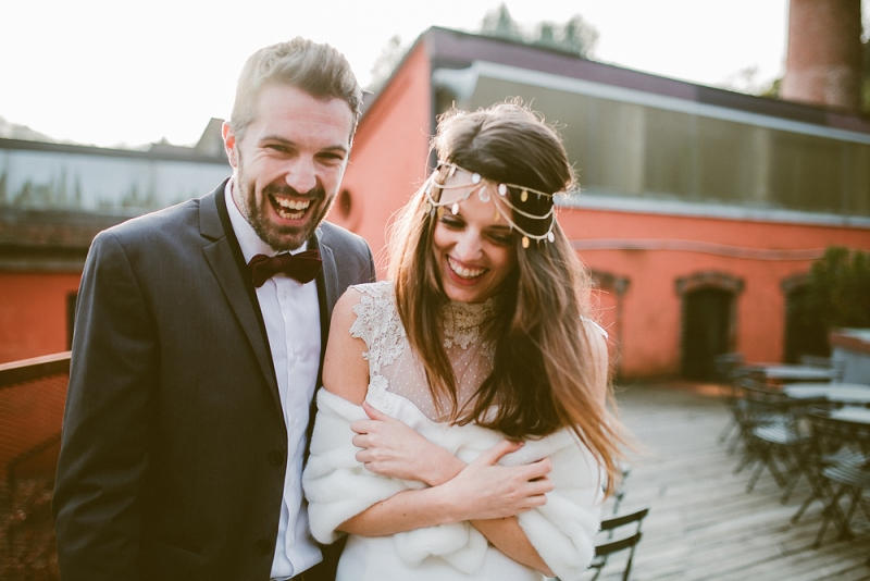 Picture Of unique industrial and vintage inspired fall italian wedding  15