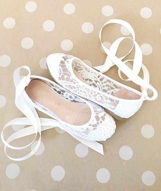 white lace flats with lacing up are a chic, elegant and very girlish idea to rock