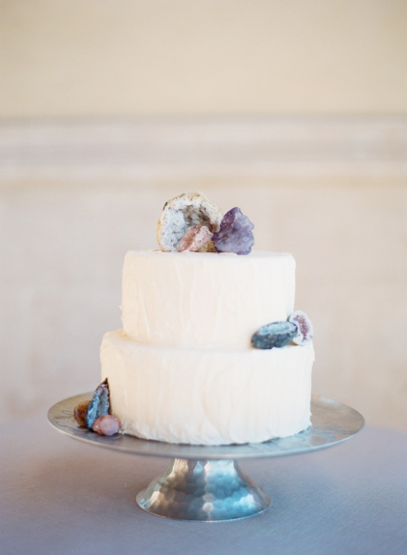 Glam And Modern Wedding Cakes Decorated With Rocks And Gems