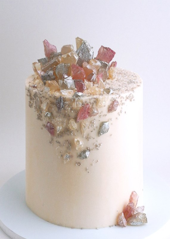 Picture Of glam and modern wedding cakes decorated with rocks and gems  13