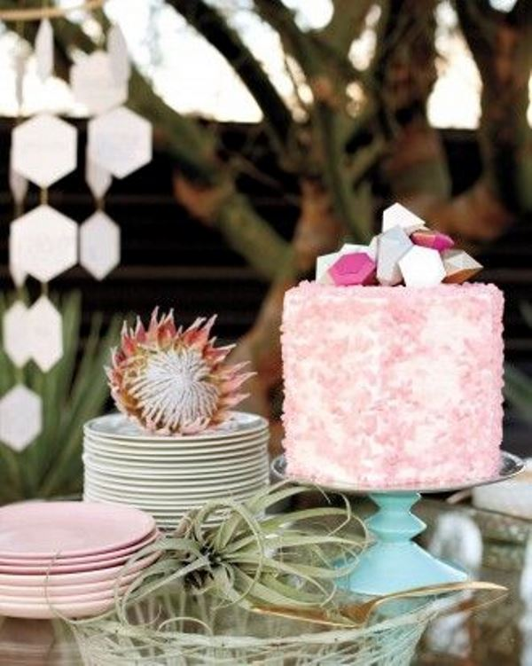 Picture Of glam and modern wedding cakes decorated with rocks and gems  2