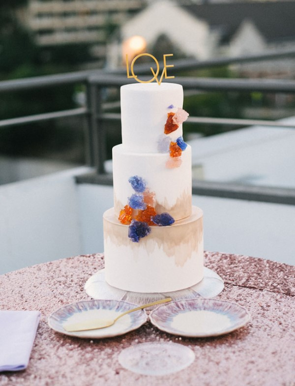 Picture Of glam and modern wedding cakes decorated with rocks and gems  4