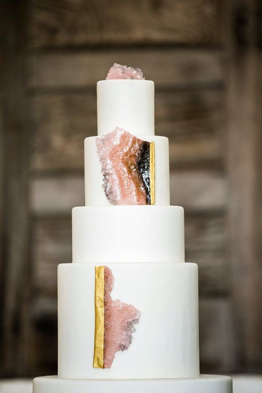 Picture Of glam and modern wedding cakes decorated with rocks and gems  5
