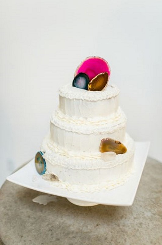 Picture Of glam and modern wedding cakes decorated with rocks and gems  6