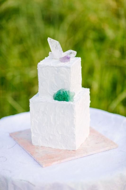 Picture Of glam and modern wedding cakes decorated with rocks and gems  8
