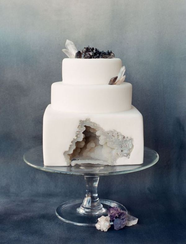 Picture Of glam and modern wedding cakes decorated with rocks and gems  9