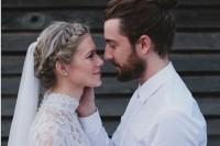 a modern boho groom's look with a white shirt, a full beard and a man bun is a great idea