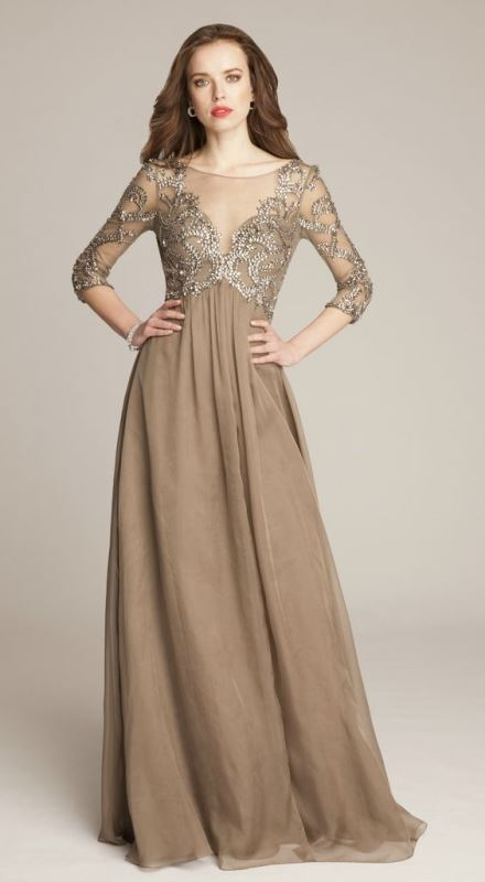 a taupe A-line maxi dress with a lace embellished bodice, draped skirt and short sleeves looks wow