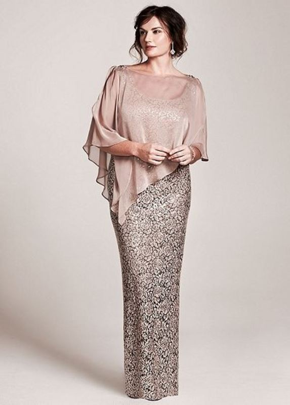 a sparkling  floral lace fitting maxi dress plus a sheer blush coverup on for more comfort and an accent