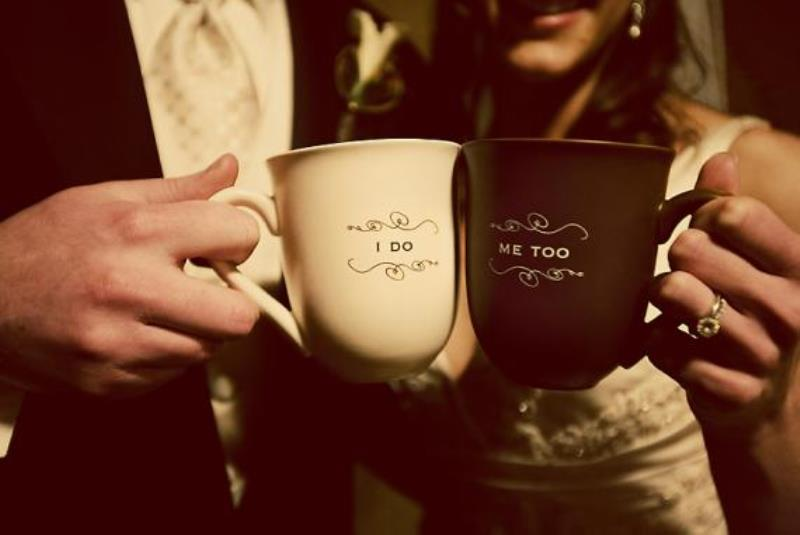 personalized coffee mugs to take a shot right after the ceremony   go to your favorite coffee shop and take such a pic