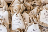 coffee brew in burlap sacks with tags is a great wedding favor idea for a relaxed coffee-loving wedding