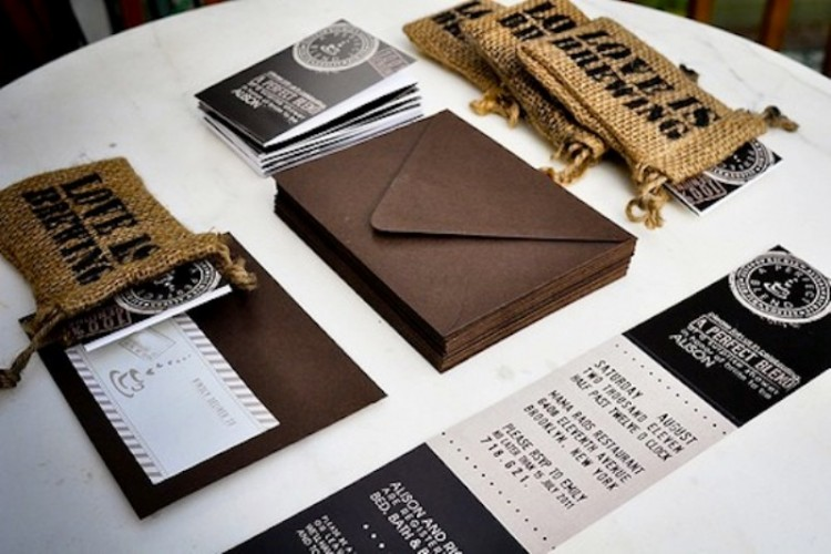 coffee-themed wedding invitation suite with invitations, burlap coffee sacks and black and white invites