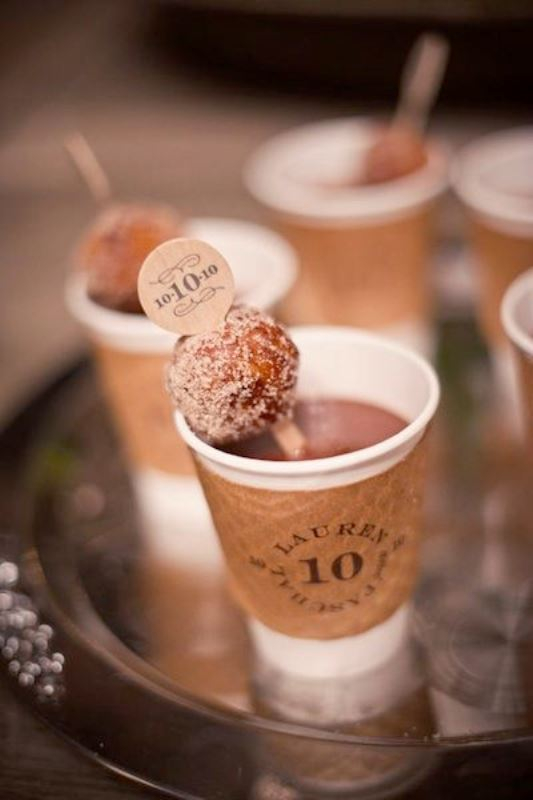 coffee with mini donuts as toppers is right what you need for a fall or winter wedding to warm your guests up
