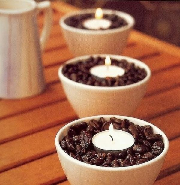 coffee beans with tealights in bowls are cool wedding decorations for coffee lovers