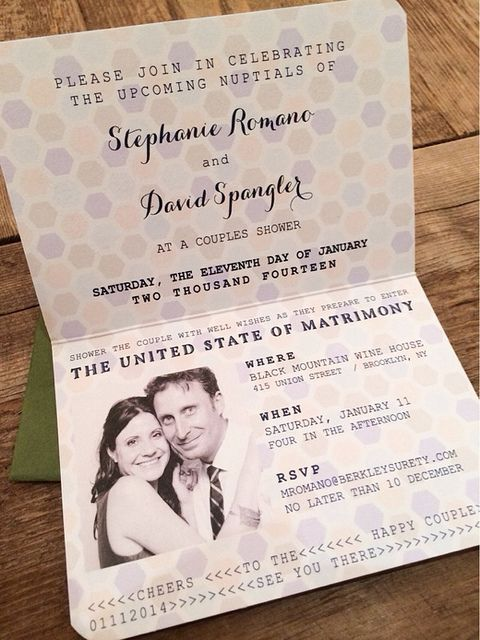 a very creative wedding invitation styled as a passport is a cool and bold idea to rock