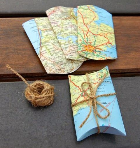 map packages for wedding favors are ideal for a travel-themed wedding - you can make them yourself easily