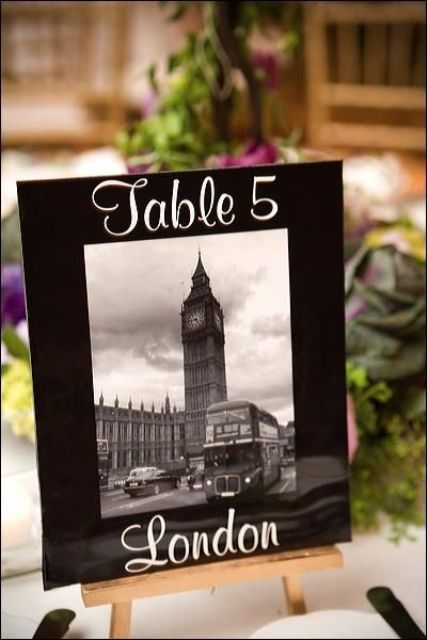 name the tables after various cities where you've been, here a black and white photo of Big Ben