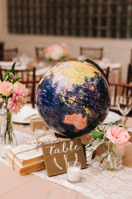 a travel-themed wedding centerpiece of a globe, pink blooms, candles and a stack of books
