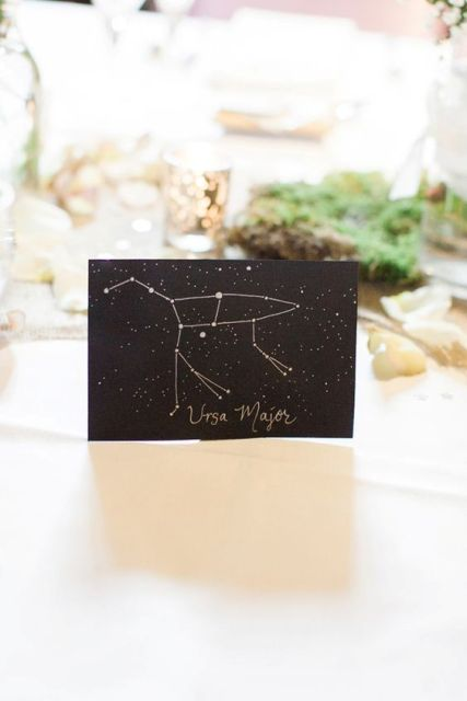 a table name as a constellation name in black and gold is a chic and very stylish idea to go for