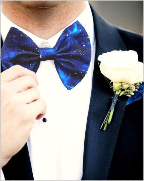 a dark night sky inspired bow tie to accent the groom's look or a groomsman's one